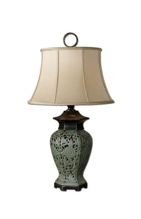 Uttermost Trussio Trussio 26875 Table Lamp in Dark Mossy Green Finish Lighting