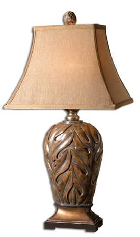 Uttermost Classic Banana leaf Table Lamp with Warm Brown Finish Lighting