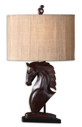 Uttermost Cavallo Cavallo 27362-1 Table Lamp in Mahogany Red Finish Lighting