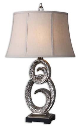 Uttermost Manette Manette 27408 Table Lamp in Burnished Silver Finish Lighting