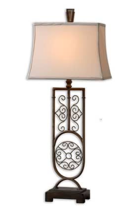 Uttermost Cesarina Cesarina 27677 Table Lamp in Greenish Gray Wash & Antiqued Gold Finish Lighting