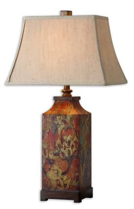 Uttermost Colorful Flowers Colorful Flowers 27678 Table Lamp in Burnished Walnut Finish Lighting