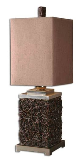 Uttermost Classic Knotted Rattan Rectangle Table Lamp with Antique Nickel Finish Lighting
