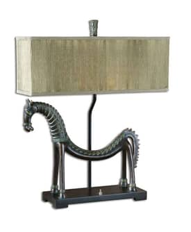 Uttermost Crafty Tamil horse Table Lamp with Antique Gold Finish Lighting