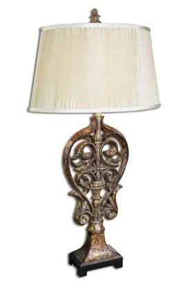 Uttermost Classic Darra Table Lamp with Distressed Gold Finish Lighting