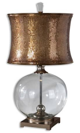 Uttermost Marcel Copper Marcel Copper Table Lamp in Clear Finish Lighting