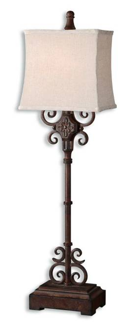 Uttermost Cubero Cubero Table Lamp in Distressed Rust Brown Finish Lighting