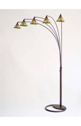 Nova Mission Mission 5 Light 4014BZ Arc Floor Lamp in Bronze Finish Lighting
