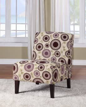 Linon Home Decor Chairs Lily Floral Slipper Chair Furniture