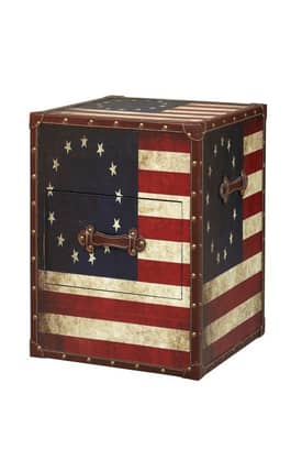 Linon Home Decor Trunks Vintage American Flag Square Storage Trunk Furniture