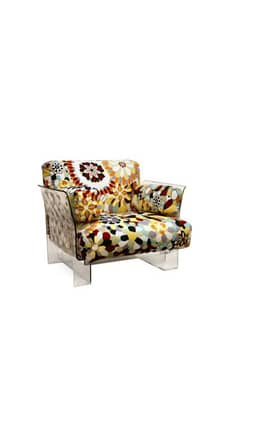 Wholesale Interiors Chairs Pop Chair With Floral Pattern Cushions And Clear Acrylic Base Furniture