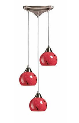 Elk Lighting Mela Mela 101-3FR Pendant in Satin Nickel Finish Lighting
