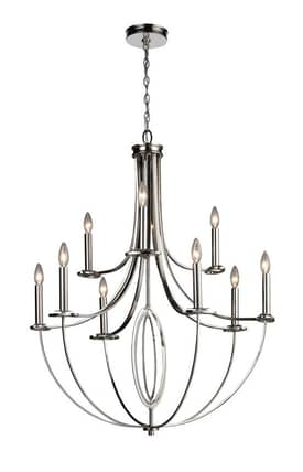 Elk Lighting Dione Dione 10159/6/3 9 Light Chandelier in Polished Nickel Finish Lighting