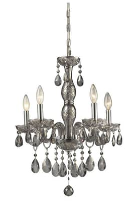 Elk Lighting Angelique Angelique 11312/5 5 Light Chandelier in Silver Smoke Finish Lighting