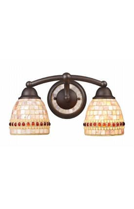 Elk Lighting Roxana Roxana 15011/2 2 Light Bath Fixture in Aged Bronze Finish Lighting