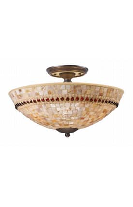 Elk Lighting Roxana Roxana 15013/3 3 Light Semi Flush Mount in Aged Bronze Finish Lighting