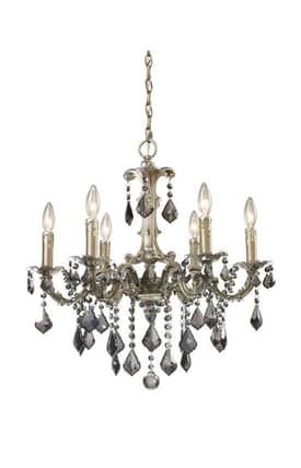 Elk Lighting Marseille Marseille 15046/6 6 Light Chandelier in Weathered Silver Finish Lighting