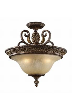 Elk Lighting Regency Regency 2157/3 3 Light Semi Flush Mount in Burnt Bronze Finish Lighting