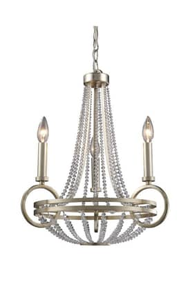 Elk Lighting New York New York 31013/3 3 Light Chandelier in Renaissance Silver Finish Lighting
