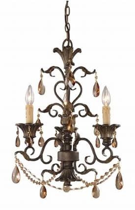Elk Lighting Rochelle Rochelle 3343/3 3 Light Chandelier in Weathered Mahogany Finish Lighting