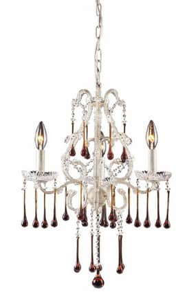 Elk Lighting Opulence Opulence 4001/3AMB 3 Light Chandelier in Antique White Finish Lighting