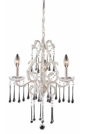 Elk Lighting Opulence Opulence 4001/3CL 3 Light Chandelier in Antique White Finish Lighting