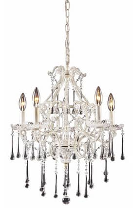 Elk Lighting Opulence Opulence 4002/5CL 5 Light Chandelier in Antique White Finish Lighting