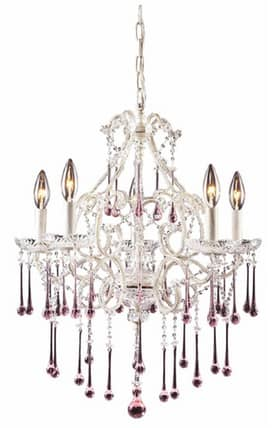 Elk Lighting Opulence Opulence 4002/5RS 5 Light Chandelier in Antique White Finish Lighting
