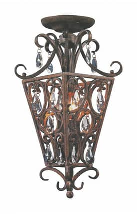 Elk Lighting Wellington Wellington 61202 2 Light Semi Flush Mount in Silver Leaf Finish Lighting