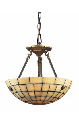 Elk Lighting Stone Mosaic Stone Mosaic 8818/3 3 Light Semi Flush Mount in Dark Antique Brass Finish Lighting