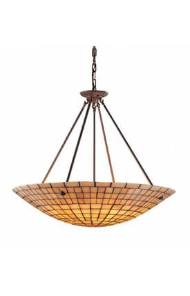 Elk Lighting Stone Mosaic Stone Mosaic 8821/6+6 Pendant in Dark Antique Brass Finish Lighting