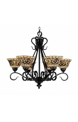 Elk Lighting Tiffany Tiffany Buckingham 366-VA 6 Light Chandelier in Vintage Antique Finish Lighting