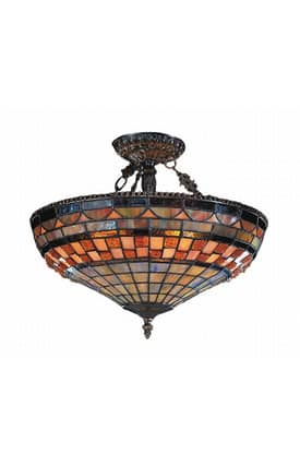 Elk Lighting Jewelstone Jewelstone 614-CB Semi Flush Mount in Classic Bronze Finish Lighting