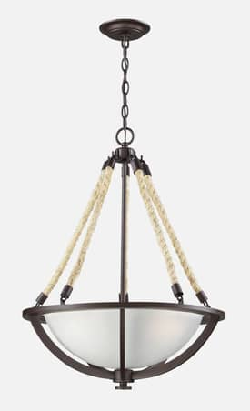 Elk Lighting Natural Rope Natural Rope 63013-3 3 Light Pendant in Aged Bronze Finish Lighting