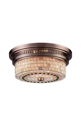 Elk Lighting Chadwick Chadwick 66441-2 2 Light Flush Mount in Antique Copper Finish Lighting