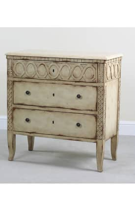 Ultimate Accents Chests Kingston 3 Drawer Marble Top Chest Furniture