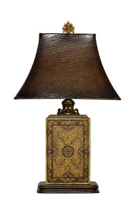 Sterling Industries Table Lamps Embossed Block 91-316 Table Lamp In Gold Lighting