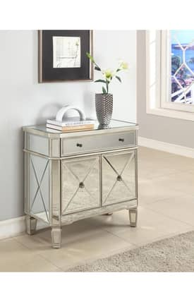 Powell Company Tables Mirrored 1 Drawer 2 Door Console Table Furniture