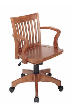 Office Star Chairs OSP designs Seating Deluxe Wood Bankers Chair with Wood Seat Furniture