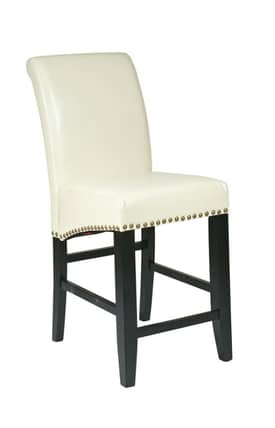 "Office Star Barstools Metro Contemporary 24"" Parsons Barstool With Nail Heads Furniture"