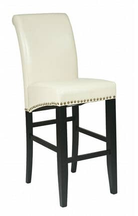 "Office Star Barstools Metro Contemporary 30"" Parsons Barstool with Nail heads (Cream Eco Leather) Furniture"