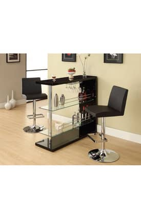 Coaster Company Tables Contemporary Pub Table With Glass Shelves Furniture