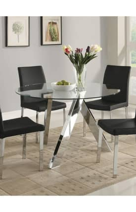 Coaster Company Tables Vance Contemporary Glass Top Dining Table Furniture