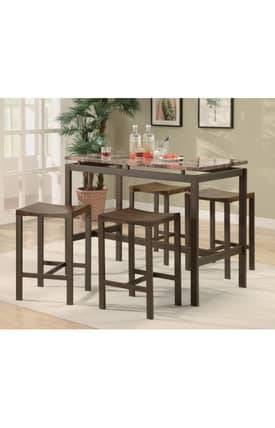 Coaster Company Dining Sets Atlus counter Height Dining Set With Marble Look Top Furniture