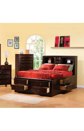 Coaster Company Beds Phoenix California King Bookcase Bed With Underbed Storage Drawer Furniture