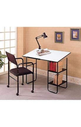 Coaster Company Desks Contemporary Drafting Desk Chair And Lamp Set Furniture