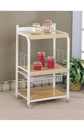 Coaster Company Kitchen Carts Contemporary Kitchen Cart With Shelves Furniture