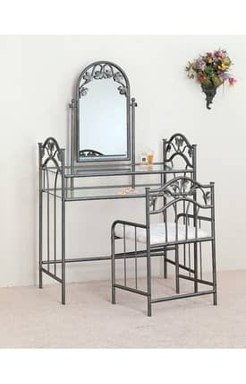 Coaster Company Vanity Sets Traditional Vanity With Glass Top and Stool Set Furniture
