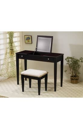 Coaster Company Vanity Sets Contemporary Flip Top Vanity And Stool Set Furniture