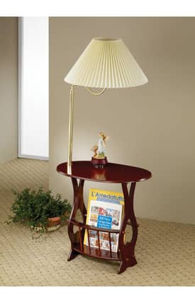 Coaster Company Tables Traditional Accent Table With Magazine Storage And Lamp Furniture